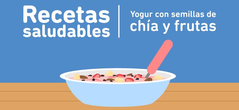 Yogur con semillas de chía y fruta